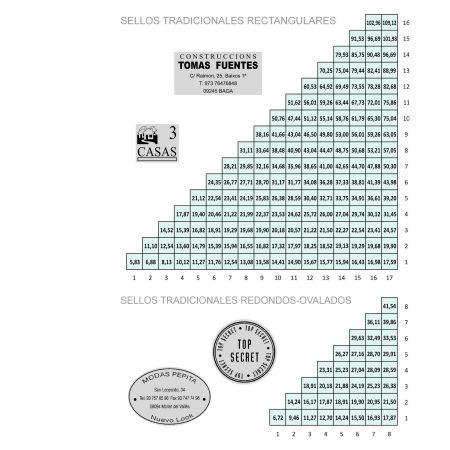 Medidas, Formatos y Tarifas Sellos Manuales