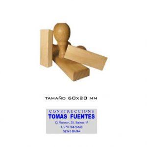Sellos de goma de madera. 60x20