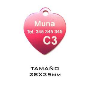 Placas para mascotas. Corazón 28 x 25 mm. Rojo