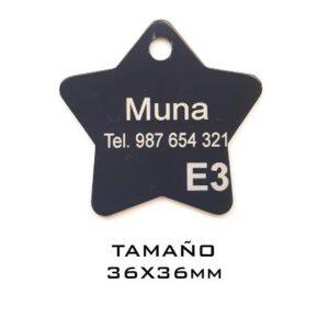 Placas para mascotas. Estrella 36 x 36 mm. Negro