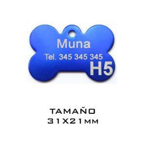 Placas para mascotas. Hueso 31 x 21 mm. Azul