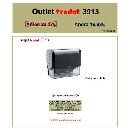 Oferta Outlet Sello de goma automático Trodat 3913